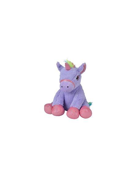Peluche Licorne assise 35 cm - violet