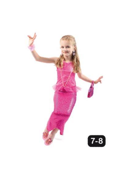 Robe sirène rose 7-8 ans