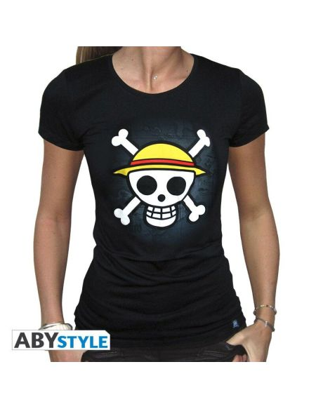 T-shirt Femme - One Piece - Skull With Map - Noir - Taille M