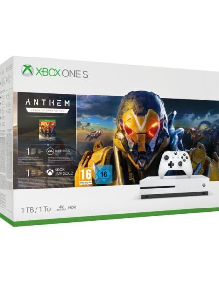 Pack Xbox One S 1to Blanche + Anthem (telechargement)+ 1m Ea Access + 1m Live Go