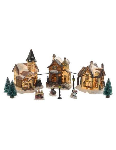 Figurine de Noël Coffret de 3 maisons lumineuses Blanc 11 pièces