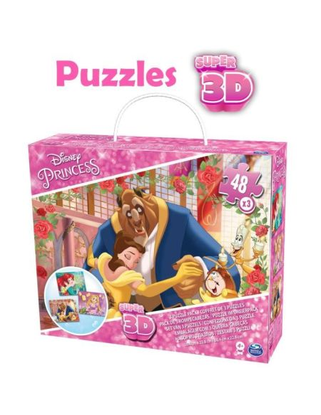 DISNEY PRINCESSES Coffret de 3 Puzzles de 48 pièces Fille - Image Effet 3D