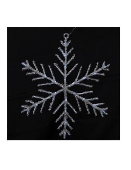 Décoration de Noël Flocon solaire 24 LED - Ø 50 cm - Blanc Froid
