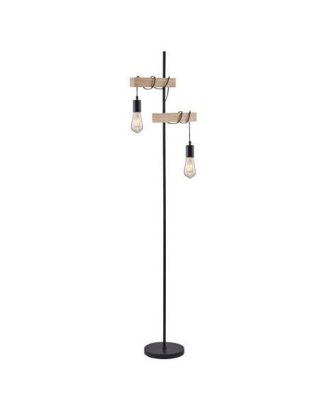 DETROIT Lampadaire industriel 2 têtes en bois - 40 x 25 x H150 cm - Noir - Ampoules décoratives E27 40W fournies