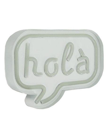 Décoration néon Holà - Structure en métal, plastique et cuivre - 24 x 4,5 x 18 cm - 3 piles AA non fournies