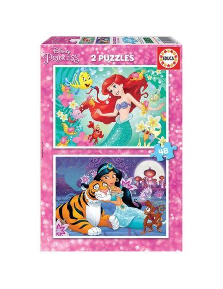 EDUCA PUZZLE 2x48 DISNEY PRINCESSES ARIEL + JASMINE