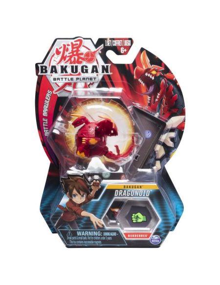 PACK 1 BAKUGAN - Modèle aléatoire + 2 cartes hexagonales BakuCore, 1 carte Personnage.