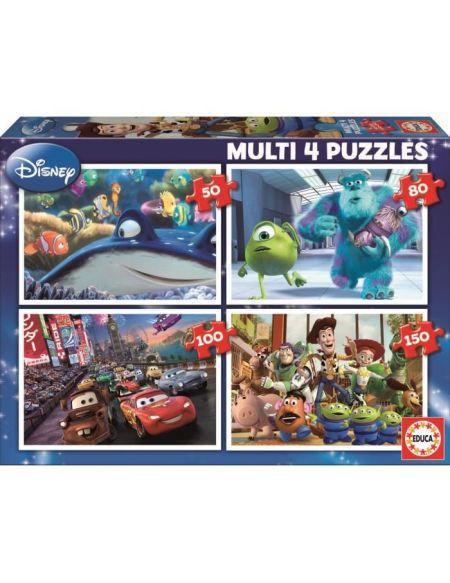 EDUCA - Disney Pixar - Puzzle multi 4 en 1 : Nemo - Monsters - Cars - Toy Story