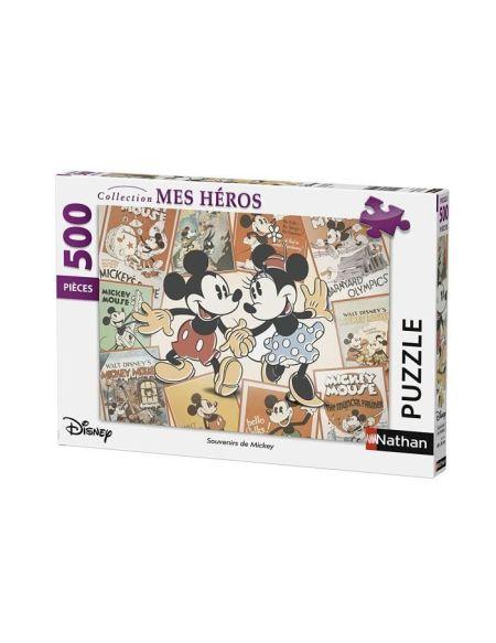 Puzzle 500 pièces Disney Souvenirs de Mickey Collection Mes Héros NATHAN