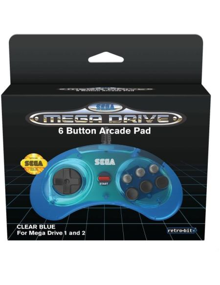 Manette Officielle SEGA Mega Drive Mini Retro-bit 6-button USB - Bleue