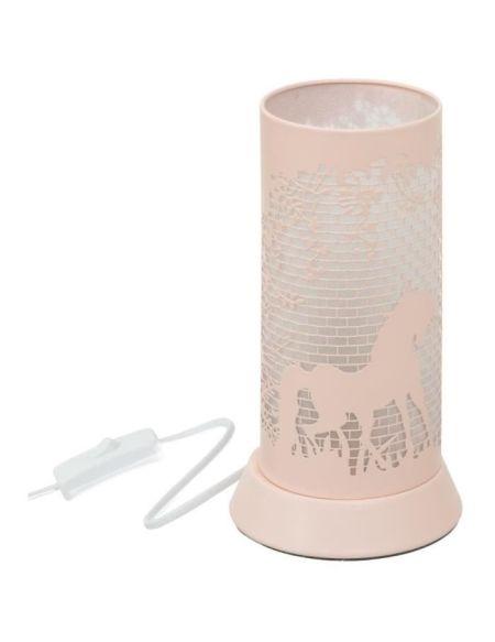 Lampe décor en métal - E14 - 25 W - H. 20,5 cm - Rose