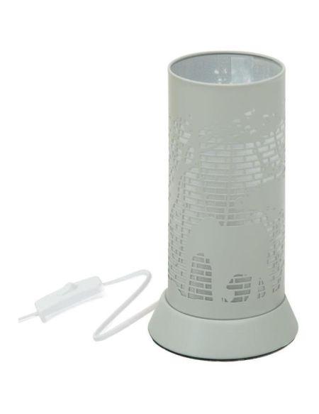 Lampe décor en métal - E14 - 25 W - H. 20,5 cm - Gris