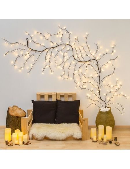 LOTTI Branche grimpante lumineuse extérieur / intérieur decoratives - 3 m - Marron - 288 LED fixe blanc chaud