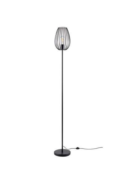 MADDY Lampadaire en métal - Ø 22 x H 160 cm - Noir - Ampoule LED Décorative fournie