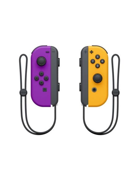 Paire de manettes Joy-Con gauche violet néon et droite orange néon