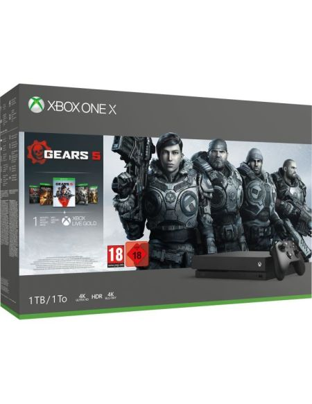 Xbox One X 1 To + 5 Jeux Gears of War + 1 mois d'essai au Xbox Live Gold + 1 mois d'essai au Xbox Game Pass