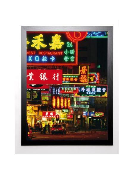 HELLIER Image encadrée Hong Kong Neon Signs 67x87 cm Multicolore