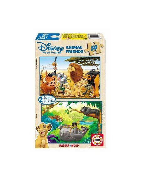 EDUCA - Puzzles Bois Wd 2X50 pièces - Animal Friends - DISNEY - 13144