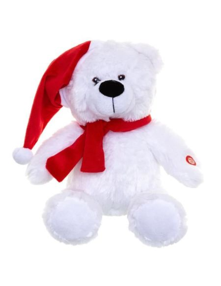 Veilleuse Musicale et Lumineuse Ours Blanc Chapeau - Rouge - 8 LED