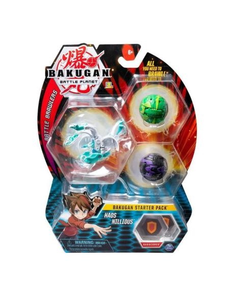 BAKUGAN Starter Pack - Haos Nillious - 2 Bakugan classiques + 1 Ultra, 6 BakuCore, 3 cartes Personnage, 3 cartes Maîtrise