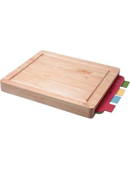Cosy & Trendy 788631 Planche à viande en bois d'hévéa + 4 plaque flexible assortis-40x34x4,5 Cm