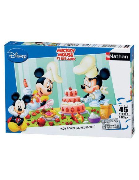Puzzle 45 pièces Disney Mickey Mouse Après-midi pâtisserie avec marquage des pièces du bord NATHAN - 5 ans et +