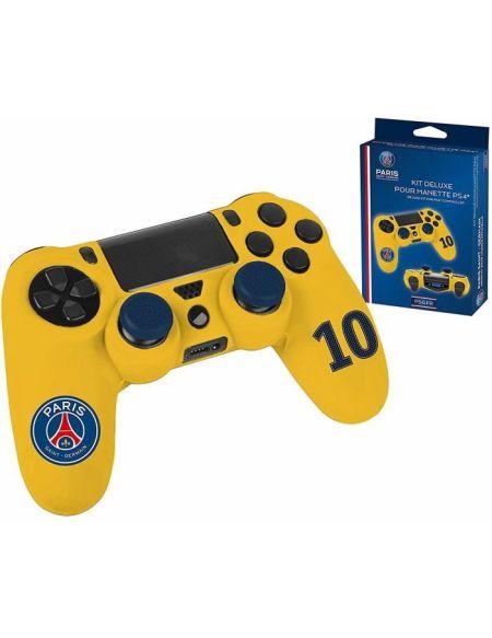 PSG Paris Saint Germain - Pack d'accessoires de customisation pour manette PS4, coque en silicone, grips et sticker - n°10 Jaune