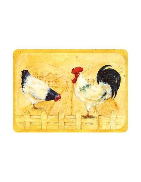 Planche à découper Coq et poule - 40 x 30 cm - vitrocéramique