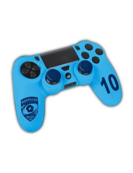 SA5323-5 Kit de customisation pour manette Playstation 4 (ps4) en silicone - Licence MHR - Montpellier Herault Rugby