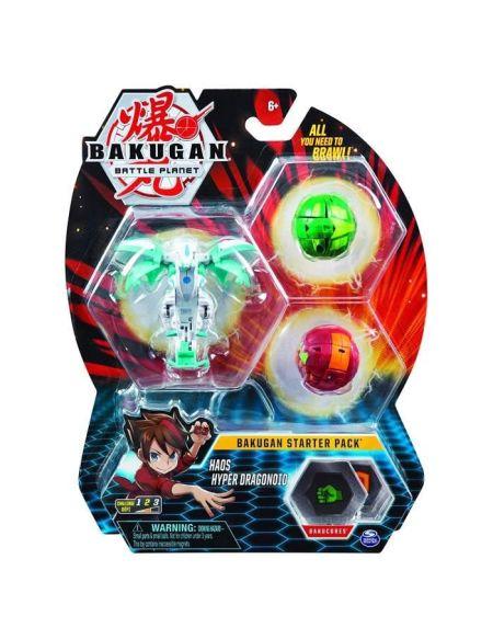 BAKUGAN Starter Pack - Modèle 26 - 2 Bakugan classiques + 1 Ultra, 6 BakuCore, 3 cartes Personnage, 3 cartes Maîtrise