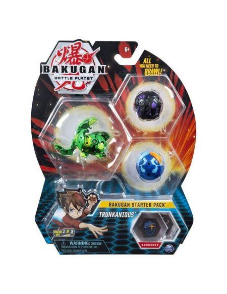 BAKUGAN Starter Pack - Modèle 28 - 2 Bakugan classiques + 1 Ultra, 6 BakuCore, 3 cartes Personnage, 3 cartes Maîtrise
