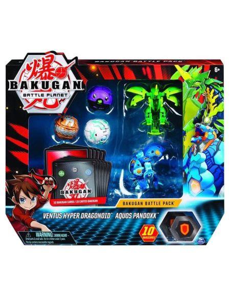 BAKUGAN Battle Pack - Modèle 11 - 3 Bakugan classiques + 2 Ultra, 10 BakuCore, 10 cartes Personnage et Maîtrise