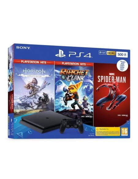 Pack Ps4 Slim 500 Go Noire + Marvel's Spider-Man + Horizon Zero Dawn + Ratchet Clank Hits