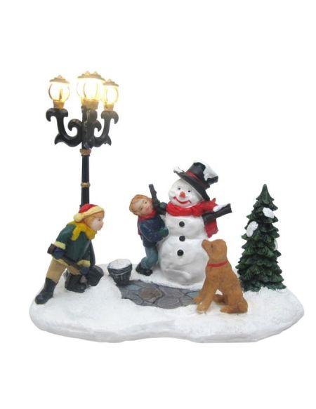 Bonhomme de neige Lampadaire - 4 Lampes - 12 x 13 cm