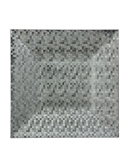 Assiette de présentation carrée pixélisée - Argent - 33cm