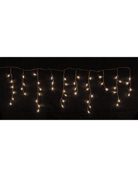 Glaçon étoiles de Noël 50 LEDS - 150 x 50 cm - Blanc chaud - Fil transparent