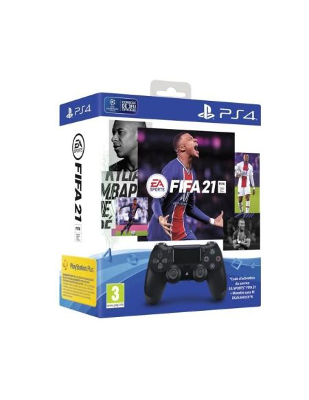 Manette PS4 DualShock 4.0 V2 Jet Black + FIFA 21 + Voucher FUT + 14 Jours PS Plus - PlayStation Officiel