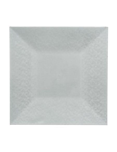 Assiette de présentation carrée pixélisée - Blanc - 33cm