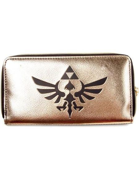 Portefeuille fermetue éclair Zelda:Blason d'Hyrule noir