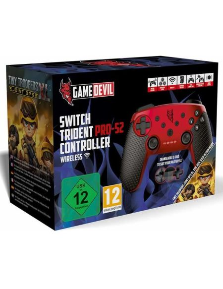 Manette Trident Pro-S2 rouge + jeu Tiny Trooper pour Switch