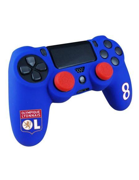 OL Olympique Lyonnais - Pack d'accessoires de customisation pour manette PS4, coque en silicone, grips et sticker - n°8 Bleu