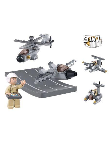 Briques Compatibles Lego - Construction - Aircraft Carrier - - Drones 3 en 1 - Mixte - Sluban - M38-B0537H -