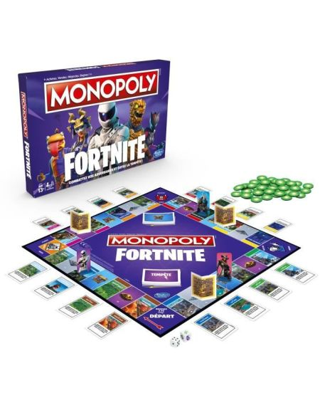 MONOPOLY FORTNITE édition, jeu de plateau inspiré du jeu vidéo Fortnite, à partir de 13ans
