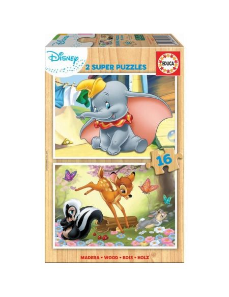 EDUCA - Puzzle - 2x16 BOIS DISNEY ANIMALS - BAMBI + DUMBO