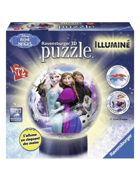 Puzzle 3D rond 72 p illuminé - La Reine des Neiges