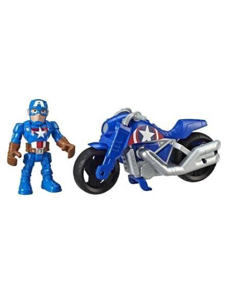 Marvel Avengers Playskool Super Hero Adventures – Moto Captain America et figurine 12,5 cm