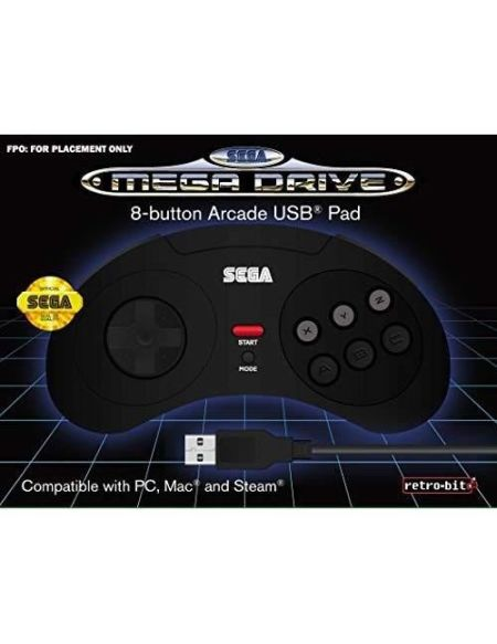 Manette filaire noire Retrobit SEGA Mega Drive Connexion USB