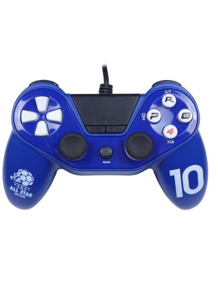 Manette pour PS4 / PS3 / PC - PRO4 Wired Football - Bleu - SUBSONIC