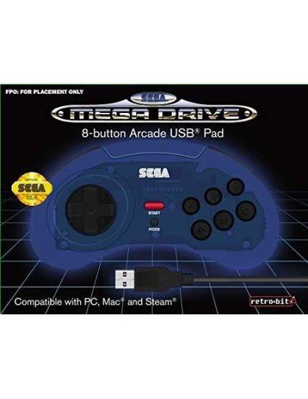 Manette filaire bleue Retrobit SEGA Mega Drive Connexion USB