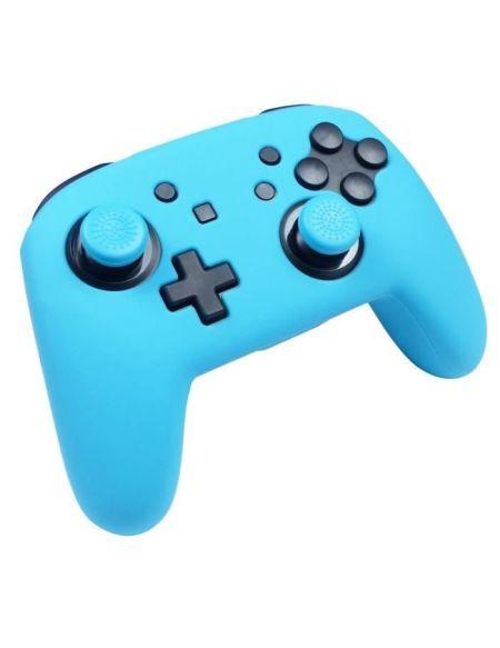 Protection en silicone bleu néon + caps Subsonic pour manette Nintendo Switch Pro Controller